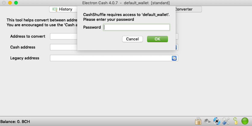 Cashshuffle wallet being initialized